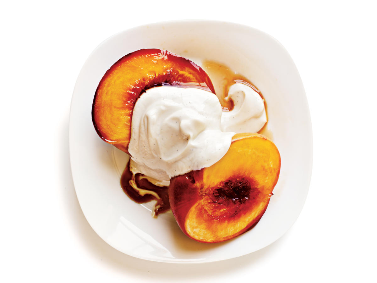 Bourbon-Glazed Peaches With Yogurt Recipe
