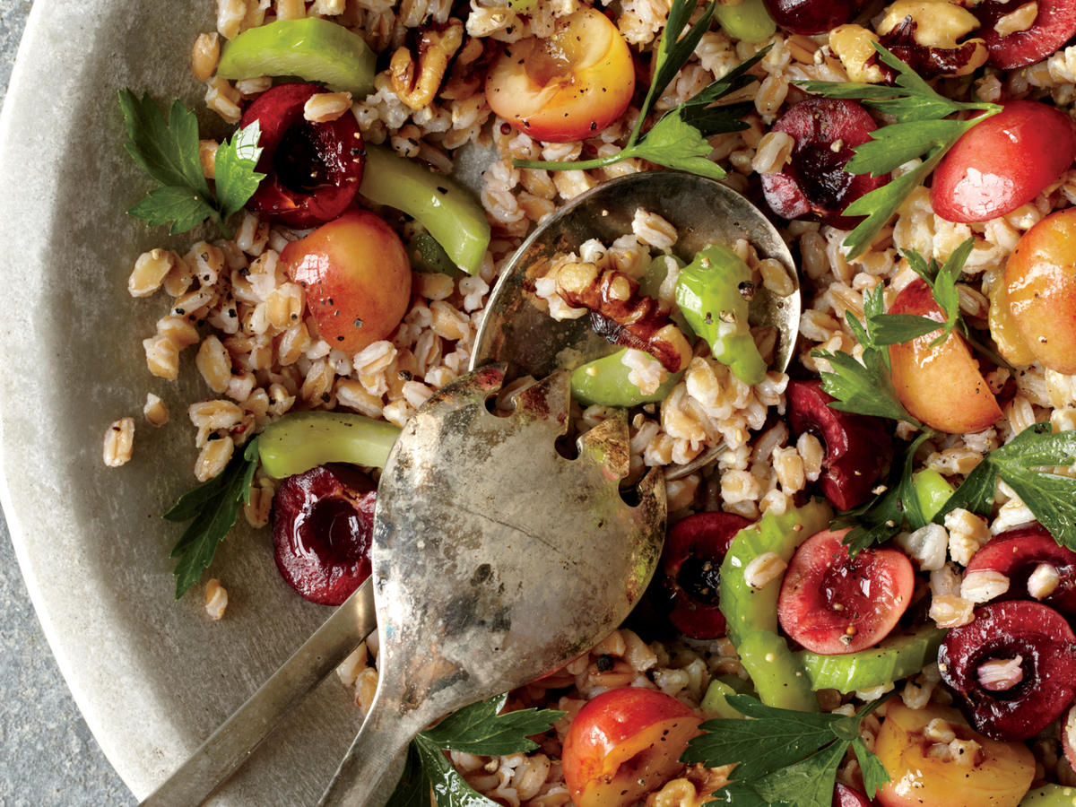 Farro, Cherry, and Walnut Salad