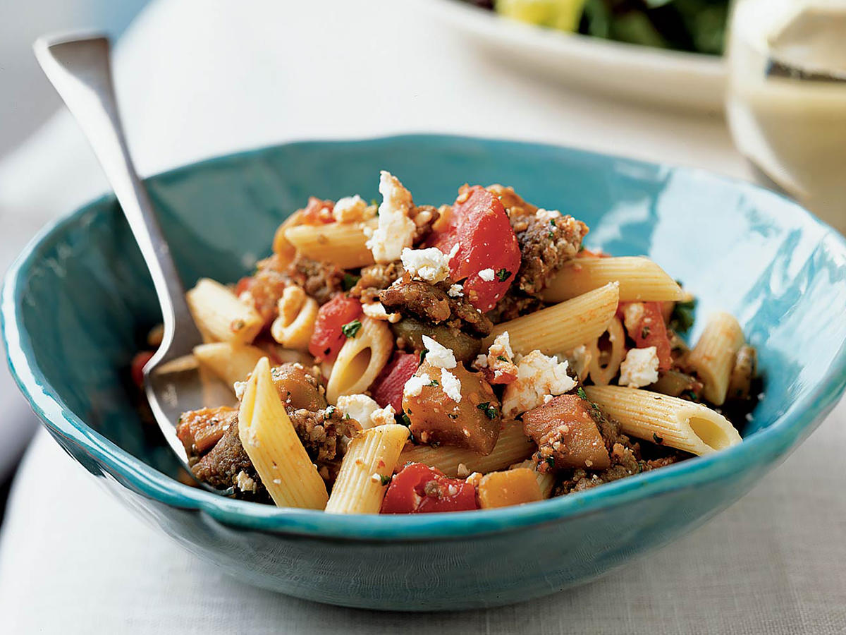 Penne with Sausage, Eggplant, and Feta
