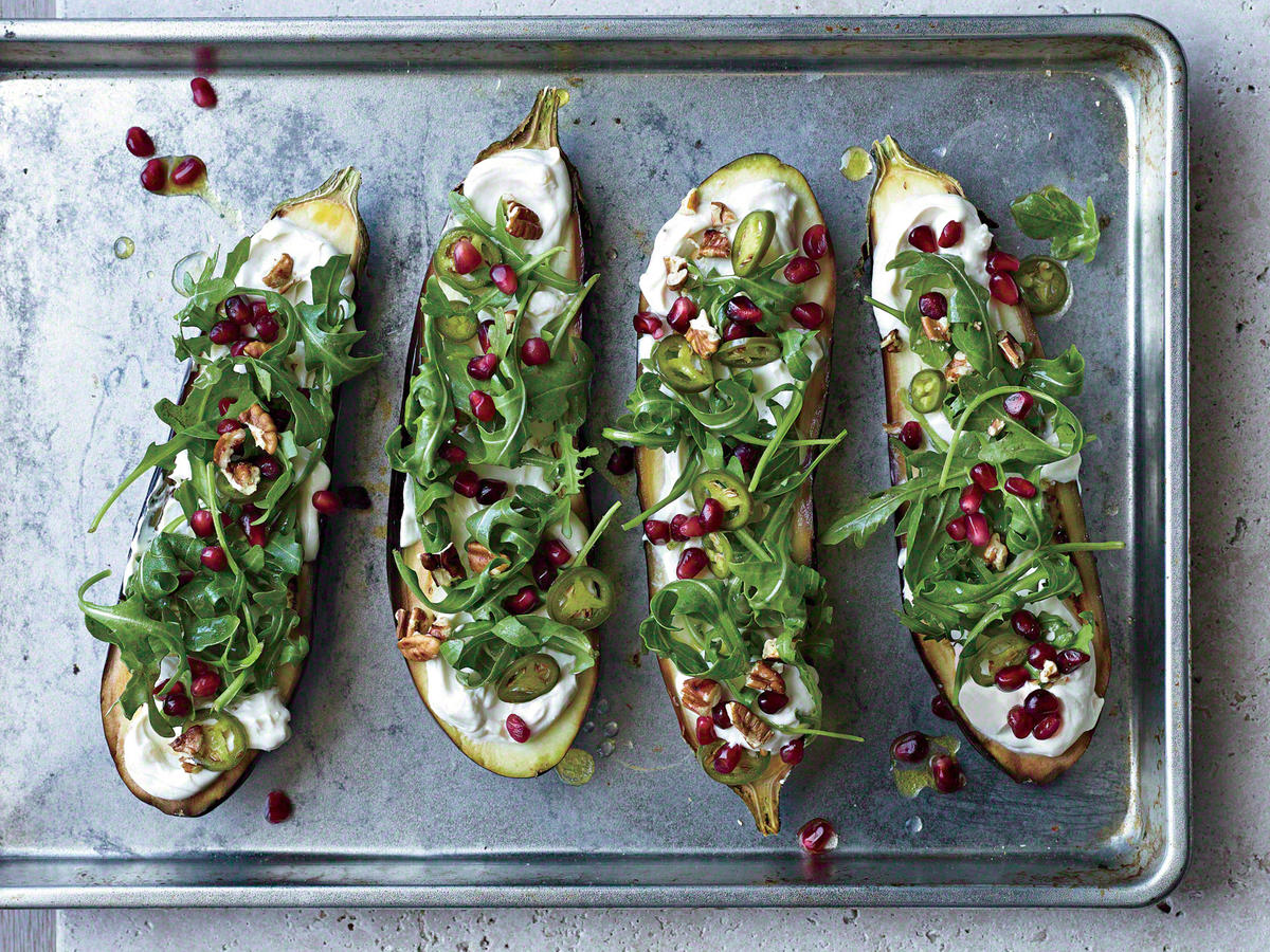 Roasted Eggplant with Pomegranate, Pickled Chiles, and Pecans