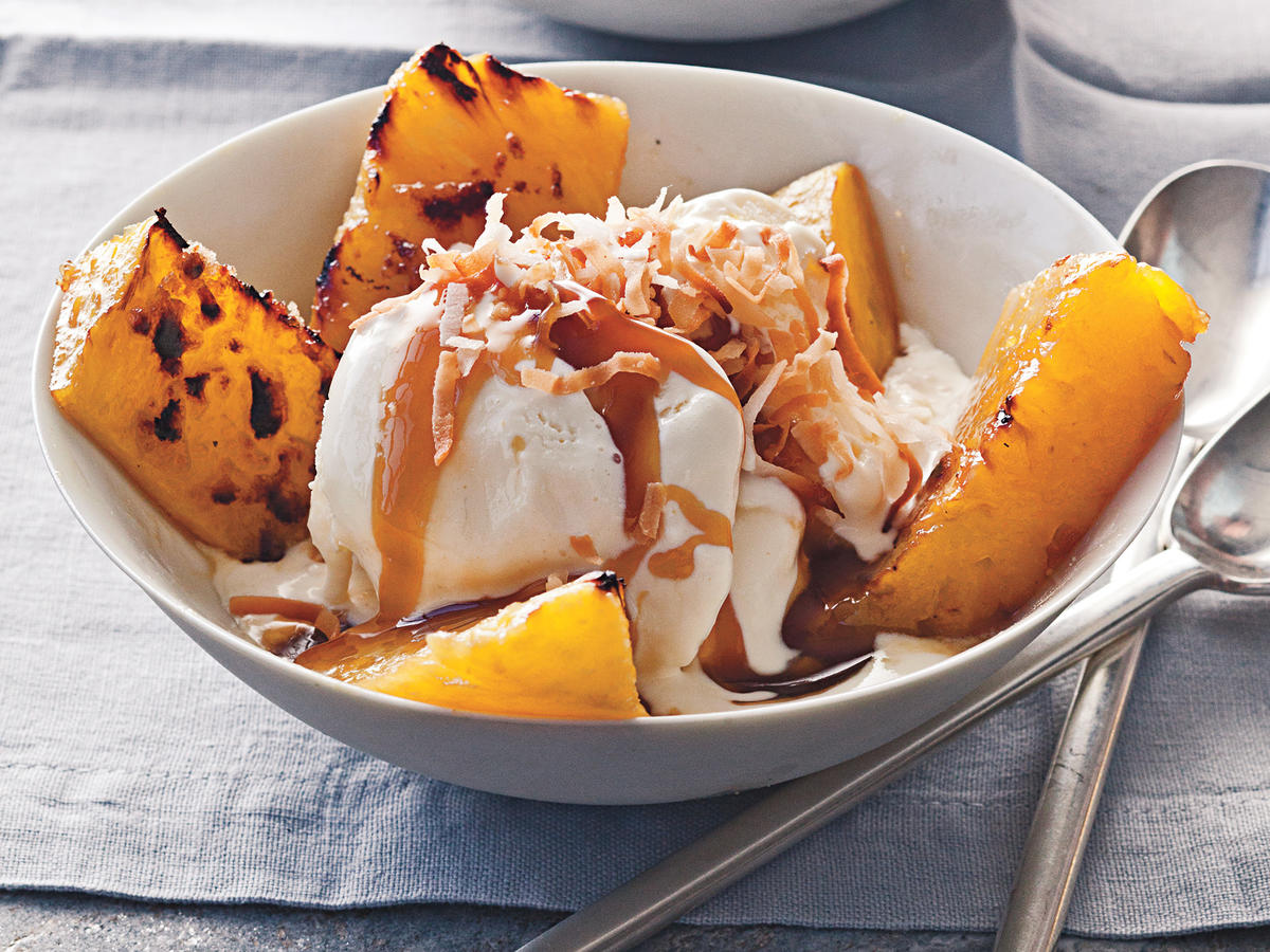 Broiled Pineapple with Bourbon Caramel over Vanilla Ice Cream