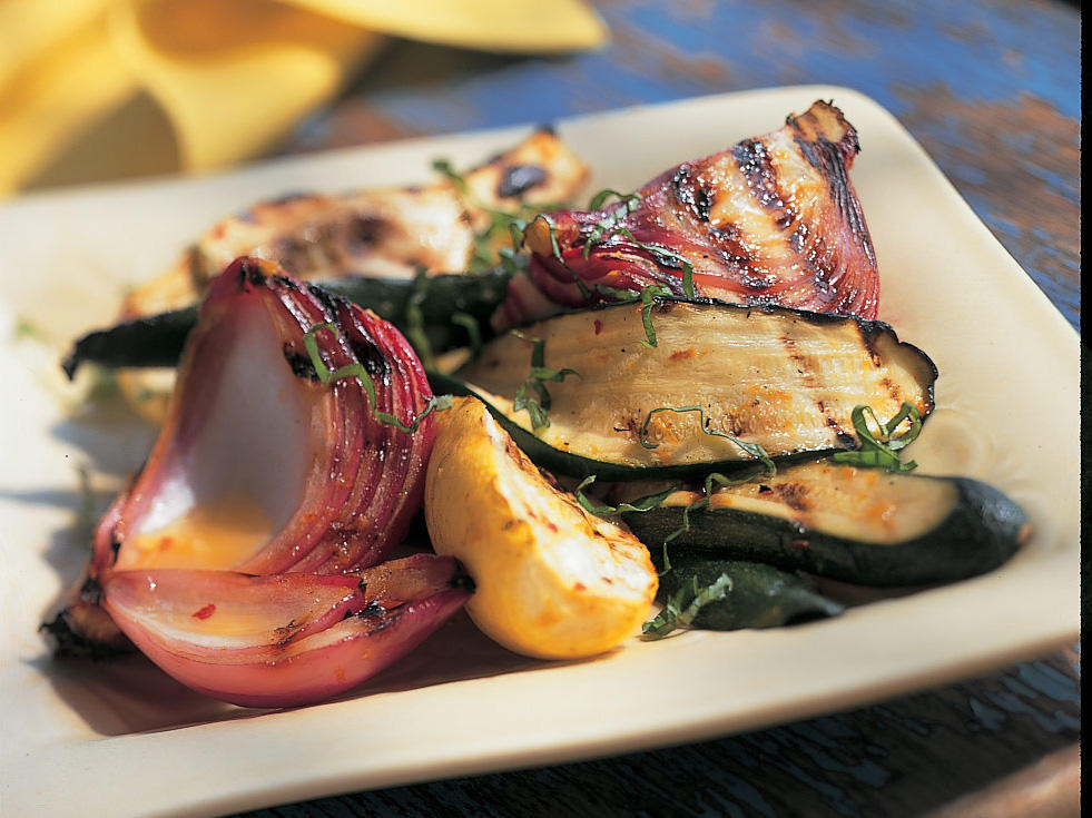 Grilled Zucchini and Summer Squash Salad With Citrus Splash Dressing