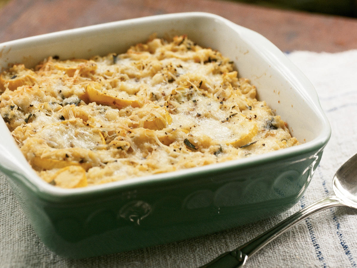 Baked Couscous With Summer Squash and Herbs