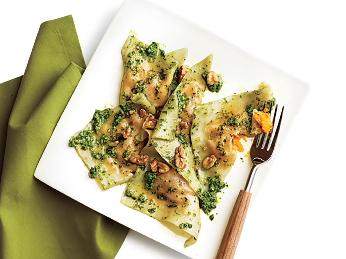 Butternut Squash Ravioli with Spinach Pesto