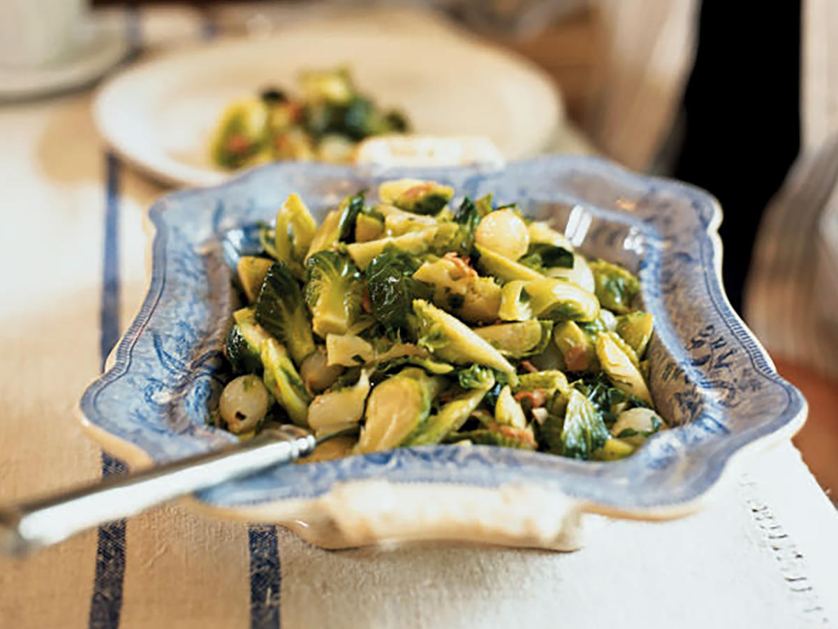 Brussels Sprouts with Honey-Glazed Pearl Onions and Capocollo