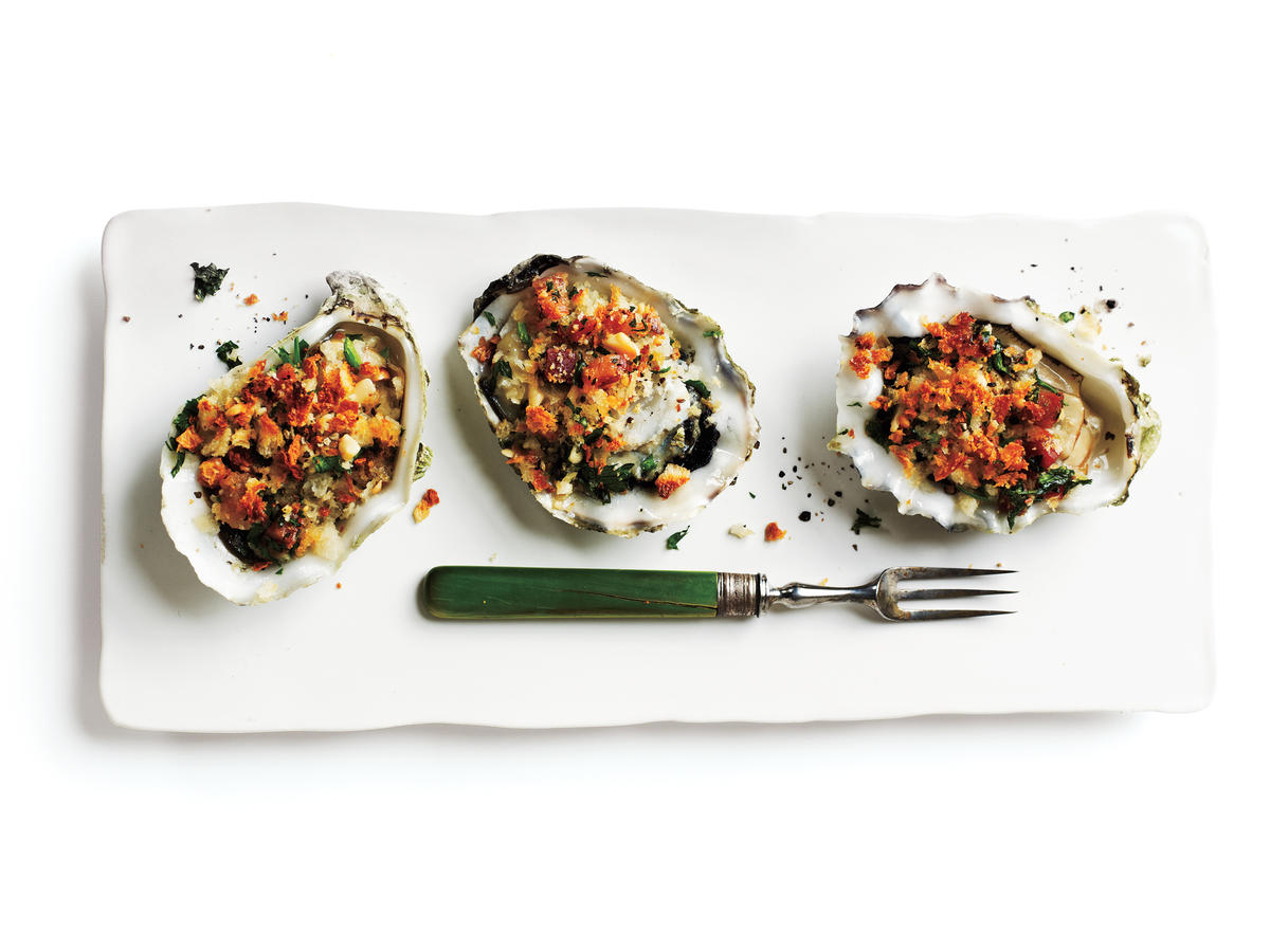 Roasted Oysters with Pancetta and Breadcrumbs