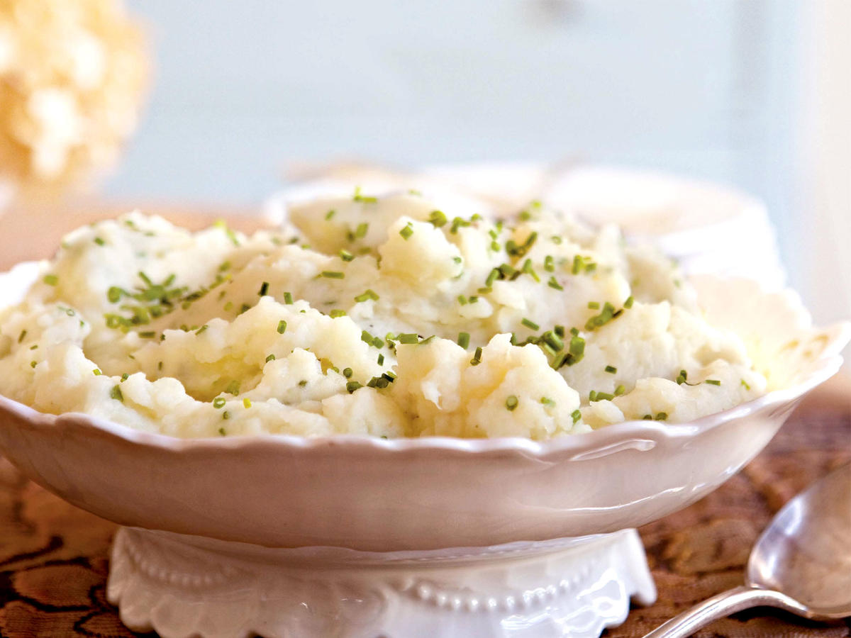 Smashed Potatoes With Goat Cheese and Chives