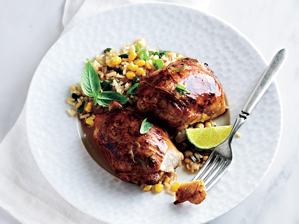 Asian-Marinated Chicken With Corn and Basil Faux-Fried Rice