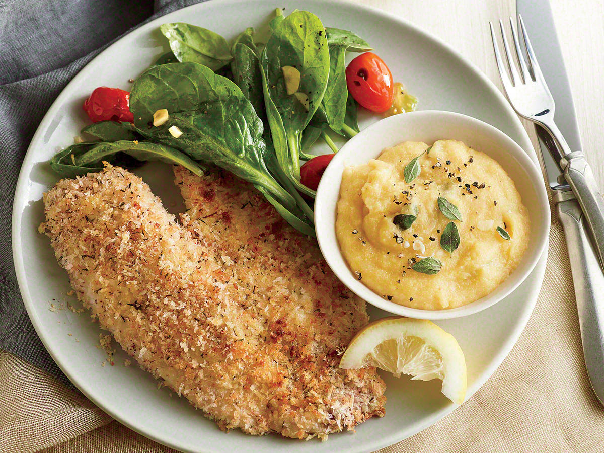 Oven-Fried Tilapia with Cheesy Polenta