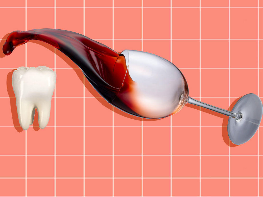 Wine spilling onto a tooth