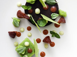 Chocolate, strawberries, peas, basil