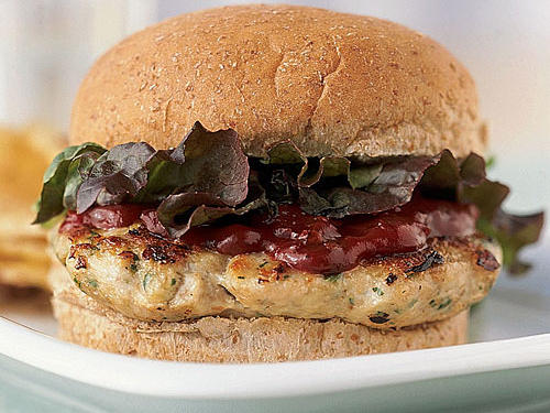 Cilantro Turkey Burgers with Chipotle Ketchup Recipe