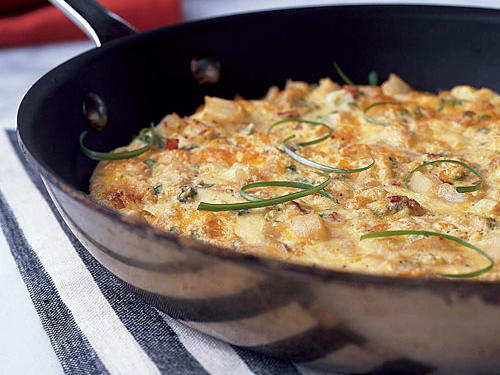 Breakfast for Dinner: Frittata with Smoked Cheese and Canadian Bacon Recipe