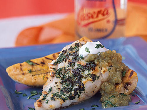 Puerto Rico: Grilled Grouper with Plantains and Salsa Verde