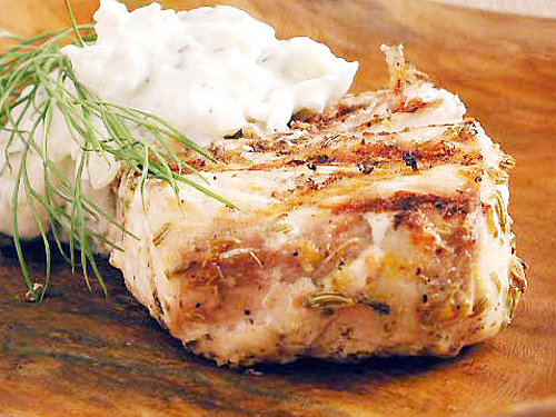 Fennel-Marinated Halibut with Fennel Tzatziki