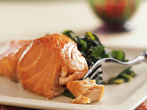 1506 Sherry-Glazed Salmon with Collard Greens