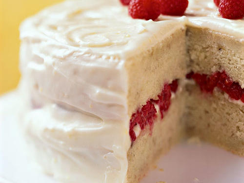 Banana-Raspberry Cake with Lemon Frosting Easter Dessert Recipe
