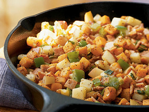 Breakfast for Dinner: Sweet Potato and Canadian Bacon Hash Recipe