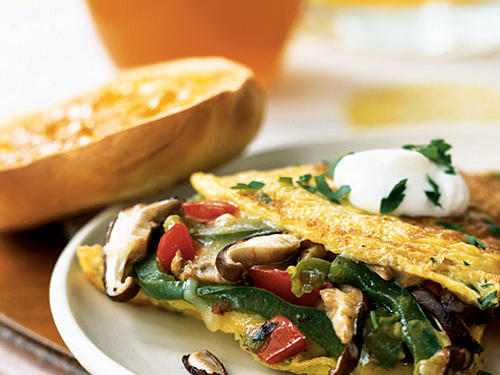 Breakfast for Dinner: Mushroom and Bell Pepper Omelet with Fontina Recipe