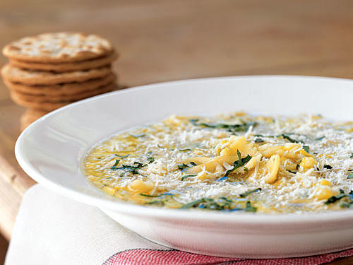 Summer Squash Soup with Pasta and Parmesan