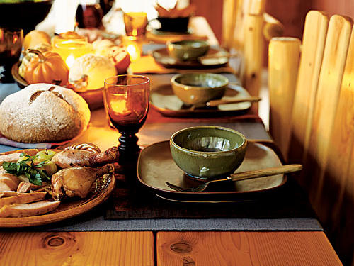 """If your table top has a lot of watermarks, scratches, or other """"flaws,"""" consider runners."""
