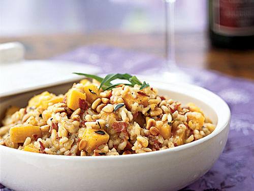 Healthy Risotto with Butternut Squash, Pancetta, and Jack Cheese Recipe