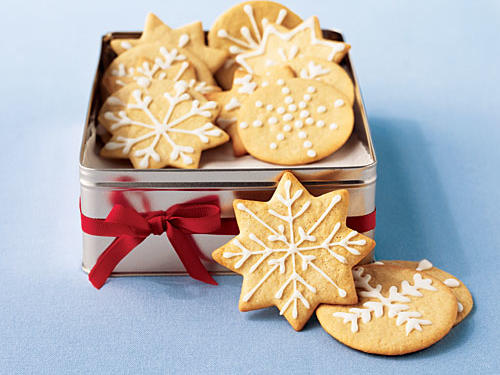 Christmas Sugar Wafers with Vanilla Frosting
