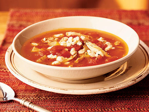 Tomato Soup with Chicken and Gorgonzola Cheese