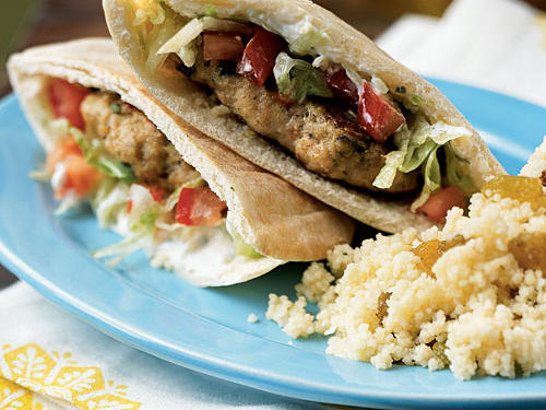 Lemon Chicken Pita Burgers with Spiced Yogurt Sauce