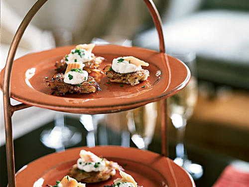 Smoked Trout with Apple-Horseradish Cream on Potato Pancakes