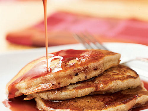 Buttermilk-Banana Pancakes with Pomegranate Syrup Recipe