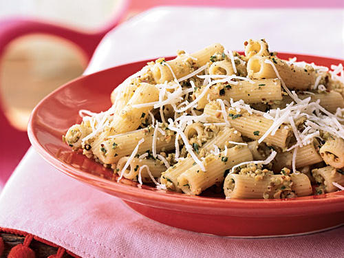 100 Pasta Recipes: Rigatoni with Green Olive-Almond Pesto and Asiago Cheese