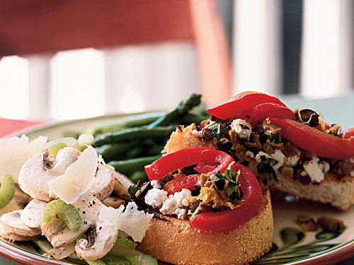 Open-Faced Panini with Goat Cheese, Roasted Peppers, and Spicy Olive Topping
