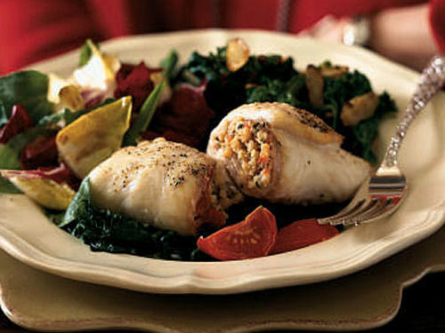 Flounder Rolls with Cherry Tomatoes and Spinach
