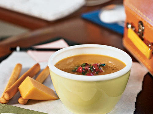 Gluten-Free Carrot and Sweet Potato Soup with Cranberry Relish