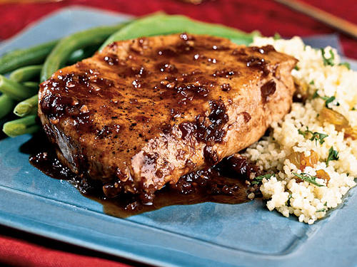 Balsamic-Plum Glazed Pork Chops Recipe