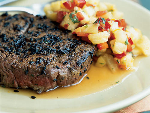 2006 Finalist: Sesame-Crusted Beef Tenderloin Steaks with Pineapple, Mango, and Red Pepper Relish
