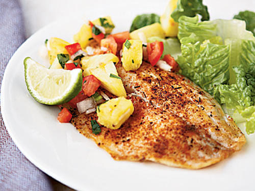Spicy Tilapia with Pineapple-Pepper Relish recipe