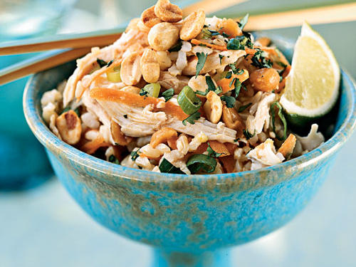 Sesame Brown Rice Salad with Shredded Chicken and Peanuts Recipe