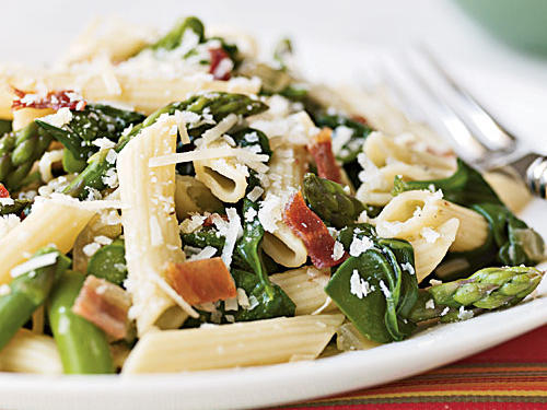 Penne with Asparagus, Spinach, and Bacon Recipes