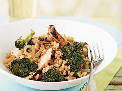 Broccoli and Chicken Stir-Fried Rice