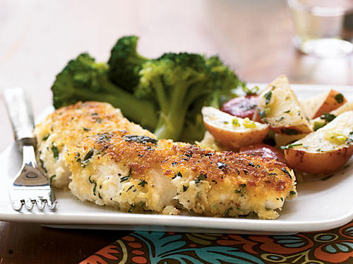 Garlic-and-Herb Oven-Fried Halibut