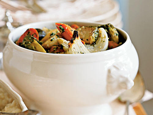Roasted Root Vegetables with Walnut Pesto