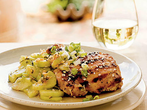 Seoul-ful Chicken with Minted Cucumbers