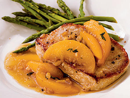 Pork Chops with Bourbon-Peach Sauce Recipe