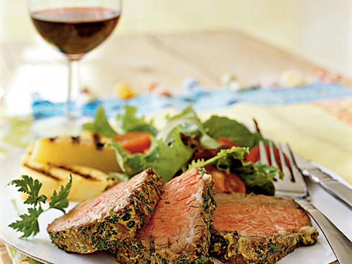 Beef Tenderloin with Mustard and Herbs