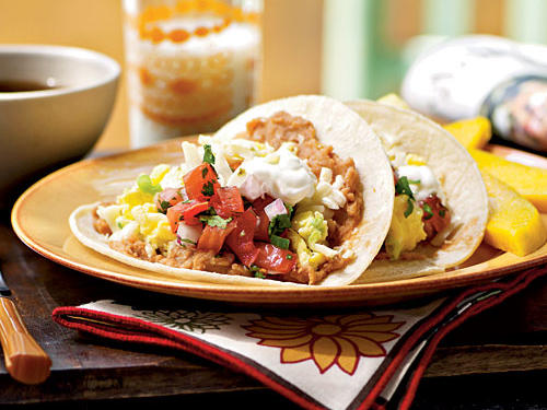 Egg and Cheese Breakfast Tacos with Homemade Salsa Recipe