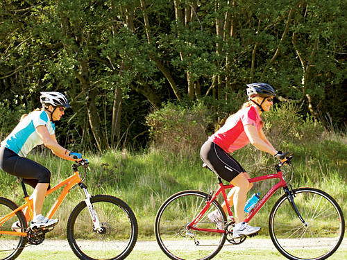 Take turns following closely behind your fellow rider, trying to get within a foot or so of his or her rear wheel.