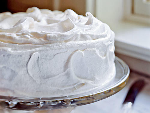 Yellow Butter Cake with Vanilla Meringue Frosting Easter Dessert Recipe