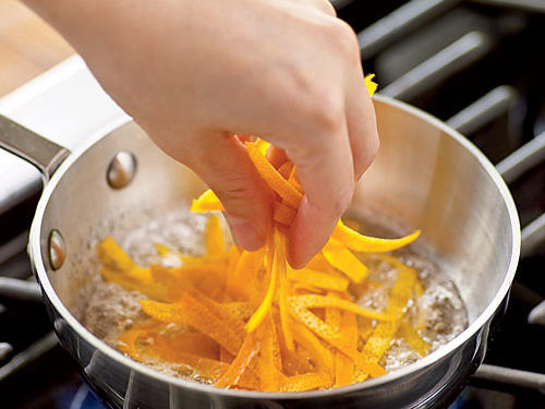 Add peel, cover, reduce heat, and simmer 3 minutes. Remove from heat; cool completely.